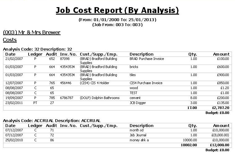 Job Cost Report By Analysis