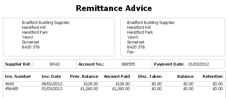 Remittance Advice Email Example